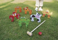 Kids Animal Croquet Set: Designed by OSA!  Kids go wild for our charming critter croquet set, and its great for building coordination, math, and social skills. Each of the six character wickets has a painted points value, so kids can count points as well as strokes. More than a great outdoor game: the self-standing wickets work indoors, too, for year-round physical fun. Quality wood construction...