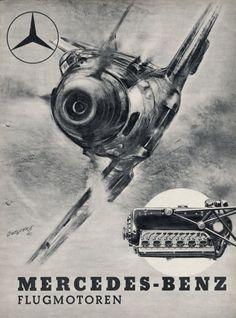 Плакат 1940 года, Mercedes Benz - авиамоторы. C изображением BF109 Emil и его двигателя