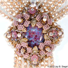 Stanley Hagler Purple & Pink Pearl Rhinestone Necklace from chicantiques on Ruby Lane