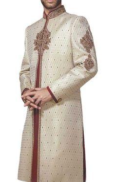 062baf35d9b5 Mens Ivory Brocade Embroidered 2 Pc Sherwani Sherwani For Men Wedding
