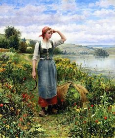 Daniel Ridgway Knight A Field of Flowers oil painting for sale; Select your favorite Daniel Ridgway Knight A Field of Flowers painting on canvas or frame at discount price. Charles Gleyre, River Painting, Art Ancien, Jean Marie, Knight Art, Portrait Pictures, Photos, Oil Painting Flowers, Oil Painting Reproductions
