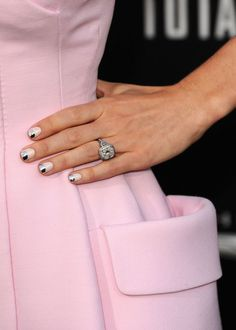 Jessica Biel's chrome tipped mani accessorized w/ major engagement BLING at Total Recall premiere