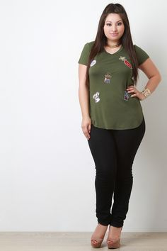 Assorted Sequin Patches Short Sleeves Tee #plussizefashion