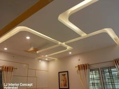 Halcyon Phoenix,Hyderabad: modern by LJ Interior Concept,Modern Drawing Room Ceiling Design, Gypsum Ceiling Design, House Ceiling Design, Ceiling Design Living Room, Bedroom False Ceiling Design, False Ceiling Living Room, Home Ceiling, Ceiling Decor, Living Room Designs