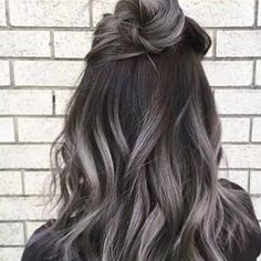 Gray Highlights in Dark Brown Hair