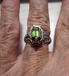 925 peridot poison ring keepsake ring by artsandadornments on Etsy