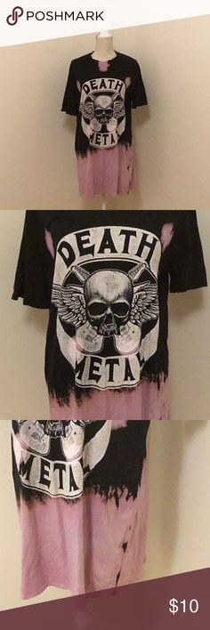 "Fashion Nova super long tee death metal tee Fashion Nova super long death metal tee, never worn. Really nice tie dye, kinda lavender/black. Excellent like new condition. 24"" across the bust, 33"" long. Oversized. Fashion Nova Tops Tees - Short Sleeve"