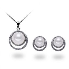 Full Moon Necklace & Earrings Set - from Timeless Pearl ($49) ❤ liked on Polyvore featuring jewelry, earrings, pearl earrings, white pearl earrings, pearl jewellery and pearl jewelry