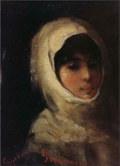 Giri with White Veil - Nicolae Grigorescu (Romanian painter) Famous Artists, Great Artists, The Painted Veil, Classic Paintings, Portraits, High Art, Vintage Wall Art, Modernism, Painting & Drawing