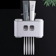 Buy Bathroom Automatic Toothpaste Dispenser Toothpaste Squeezer Wall Mounted Toothbrush Holder Bathroom Accessories Set at eSellect! Great selections of high-quality products! Wall Mounted Toothbrush Holder, Toothbrush And Toothpaste Holder, Toothpaste Squeezer, Bathroom Cleaning, Bathroom Organization, Regal Bad, Cheap Bathroom Accessories, Easy Wall, Mouthwash