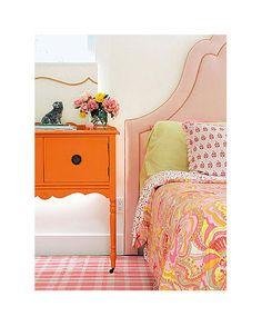Bright orange bedside