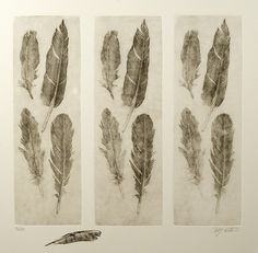 This is a soft ground etching, the feathers are impressions in the ground from actual feathers, tricky to get a good impression, but when you do, it is worth it.... the feather on the paper is actually a feather rolled up with ink and printed as part of the print.The only problem I have with this soft ground printmaking method is that if you (I) don't add anything, then what is it..... copying basically, sure, there is technique, but that's about it isn't it?