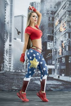Wonder Woman - Super Hero Leggings - Fiber - Roni Taylor Fit  - 2 These Wonder Woman Super Hero Leggings from Fiber are great for working out, casual wear or even dressing up for Halloween. You will love these exclusive leggings that are made from the highest quality materials to make sure they look great, feel even better and last longer than you ever thought possible. Limited Edition and once they are sold out they will not be back again!