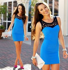 Sky blue and black body con dress by Mihi