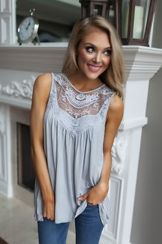 Grey Mineral Wash/Crochet Tank - Dottie Couture Boutique