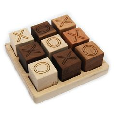 Tic Tac Toe Wooden Game Toy - organic wood blocks with tray. $26.00, via Etsy.