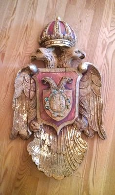 Antique Hand-painted Coat of Arms #bird #crown #european