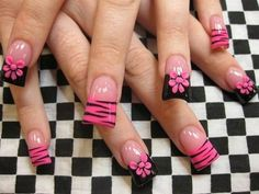 Black and Pink Nails nail art Duck Nails, Zebra Nails, Toe Nails, Nail Nail, Fabulous Nails, Gorgeous Nails, Pretty Nails, Acrylic Nail Designs, Nail Art Designs
