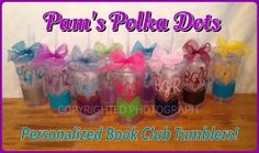 Personalized Clear Acrylic TUMBLER for BOOK CLUB MEMBERS or anyone who loves to read! By Pam's Polka Dots, $10.00 each