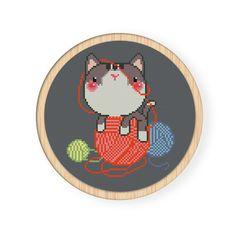 Buy 4 get 1 free ,Cross stitch pattern, PDF,cat,zxxc0003. $4.00, via Etsy.