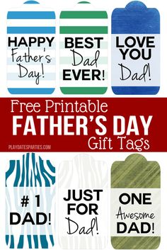 With 6 different masculine designs to choose from, these printable Father's Day gift tags are perfect for all the Dads in your life. Choose from bold stripes, vintage paper patterns, or even woodsy faux bois in blues, greens and grays. Happy Fathers Day Dad, Dad Day, Fathers Day Gifts, Father's Day Printable, Gift Tags Printable, Paper Patterns, Pattern Paper, Gifts For Dad, Baby Gifts