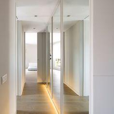 hallway with mirrors Hallway Cupboards, Hallway Cabinet, Hallway Mirror, Long Hallway, Entryway Wall, Hallway Colours, Closet Built Ins, Wardrobe Room, Sliding Wardrobe Doors