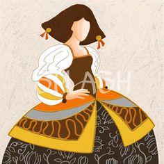 Menina Moderna con textura en colores marrones, naranjas  y dorados SP543 Chalk Paint, Paper Dolls, Creative Art, Cool Art, Nice Art, Decoupage, Little Girls, Quilts, Disney Princess
