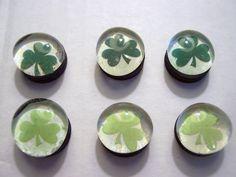 Marble Magnets  Shamrocks / 4 by LisaChristines on Etsy, $5.00
