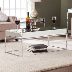 Modern Mirrored Coffee Cocktail Table Home Living Room Furniture Chrome Accent Mirrored Coffee Tables, Modern Coffee Tables, Mirrored Table, Wholesale Furniture, Cheap Furniture, Furniture Outlet, Online Furniture, Luxury Furniture, Mirrored Furniture