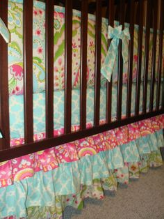 A personal favorite from my Etsy shop https://www.etsy.com/listing/73478263/custom-layered-crib-bedskirt