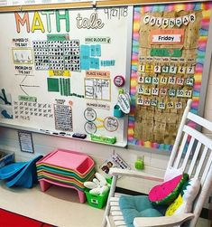 This is definitely one of our favorite spots in our classroom! Our calendar and math talk board get used daily during our morning meeting… Classroom Calendar, Classroom Layout, First Grade Classroom, Classroom Design, Classroom Setting, Kindergarten Classroom, School Classroom, Elementary Math, Classroom Organization