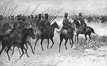 This is Napoleon's Army in Cossack.  Cossack caused a lot of problems for the French because they relied off the land and since the Russian's burned their own land and villages many French soldiers starved or while out hunting for food where killed or imprisoned by Russian troops.