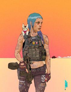 cyberpunk with shoulder cat by ashleyboonePierce on DeviantArt Cyberpunk 2020, Cyberpunk Girl, Arte Cyberpunk, Cyberpunk Character, Character Concept, Character Art, Animation Character, Vikings, Black Cartoon