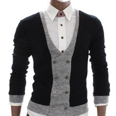 color block, double-breasted cardigan