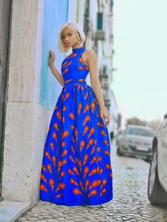 African Maxi Dresses for Women - African Wax Print Sleeveless Turtleneck Maxi Dress - Ella Long Ankara Dresses, Ankara Maxi Dress, African Maxi Dresses, Latest African Fashion Dresses, African Print Fashion, African Attire, African Wear, Print Maxi Dresses, African Style Clothing
