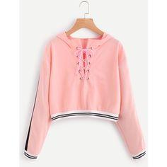 Eyelet Lace Up Stripe Trim Hoodie ($7.99) ❤ liked on Polyvore featuring tops, hoodies, red hoodie, hoodie top, sweatshirt hoodies, red hooded sweatshirt and red top