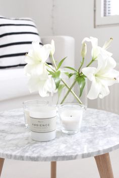 White lilies | marble table | scented candle
