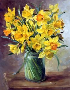 Daffodils - Limited Edition Print - Mill House Fine Art – Publishers of Anne Cotterill Flower Art Art Floral, Oil Painting Flowers, Watercolor Flowers, Watercolor Paintings, Original Paintings, Flower Prints, Flower Art, Daffodils, Tulips
