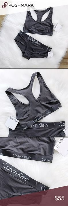 Calvin Klein Set of Bralette and Boyshorts •size: SMALL both •colors: charcoal •material: 58% modal + 27 poly, 15% elastane •Logo elasticband •will not separate •new with tags attached  ❗️Please know your CK size before you purchase.           10% off bundle 2 items or more!                             •NO TRADING                             •reasonable offers                             •make me an offer                             •smoke free                             •fast shipper…