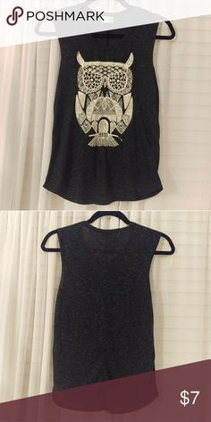 Gray and White Owl Tank Top Never worn. No damages or stains to the top or owl. Hip length. Does not say the size but would fit someone who is small or a medium. Mary Jane Tops Tank Tops