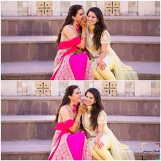 Fun photos of Indian Bride with her Best Friend Indian Photoshoot, Saree Photoshoot, Wedding Photoshoot, Photoshoot Ideas, Sister Wedding Pictures, Wedding Pics, Desi Wedding, Wedding Things, Couple Photography Poses