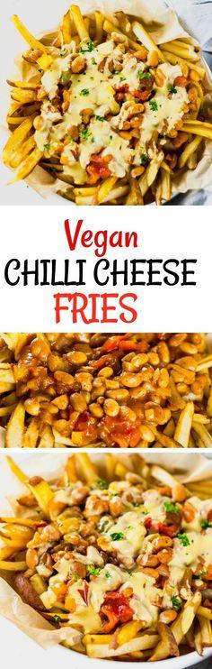 Vegan Pinto Bean Chili Cheese Fries #veganrecipes #glutenfreerecipes #chili