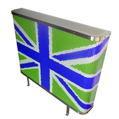 YOYO Mosaic Union Jack radiator cover in Green and Blue (From Modern Radiator Covers and Window Shutters)
