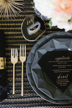 Add a gold touch to your dark glamour...we love the contrast of gold with black and grey at a wedding.