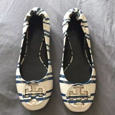 NEW UNIQUE TORY BURCH REVA FLATS Gorgeous TORY BURCH REVA FLATS in a BLUE & WHITE STRIPE PATTERN! 100% Authentic with the dust bag. One of the most lovely TORY BURCH REVAS that I ever have seen. Size 9.5. Tory Burch Shoes Flats & Loafers