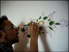 One Stroke painting - Luca Sansone - Flowers on wall