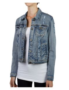 Womens Vintage Distressed Denim Jacket with Pocket