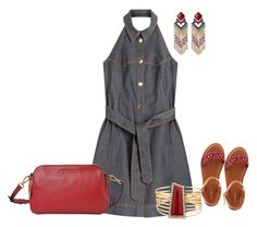 """""""Denim Halter Dress"""" by sherlynd ❤ liked on Polyvore featuring Boutique Moschino, Bamboo, MICHAEL Michael Kors and halterdresses"""