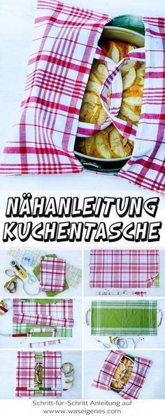 Sewing instructions cake bag from tea towels + recipe low carb apple pie-Nähanleitung Kuchentasche aus Geschirrtüchern + Rezept low carb Apfelkuchen Step-by-step sewing instructions for a … - Diy Sewing Projects, Sewing Projects For Beginners, Sewing Hacks, Sewing Tutorials, Sewing Crafts, Sewing Tips, Diy Couture, Couture Sewing, Leftover Fabric