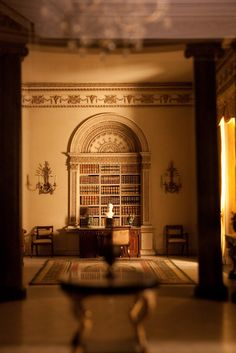 Thorne Miniature Room library, Chicago, Illinois.  Books are so tiny, yet really open.